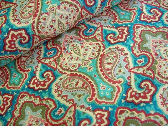 Peacock Blue & Rose Paisley Fabric -Recollections by Wilmington Prints - OOP