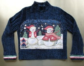 Reduced Sparkling Ugly Christmas Sweater with Snowmen