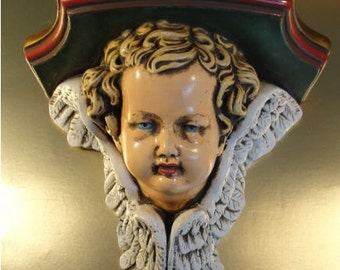 Angel or Cherub Wall Sconce or Shelf Hand Painted