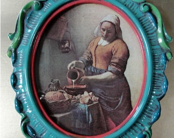 Baroque frame hand painted with Vermeer's Girl with Milk Pitcher