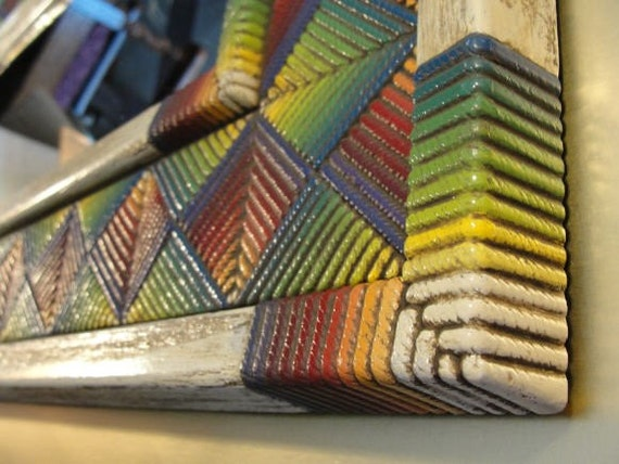mirror and frame rainbow colors hand painted vitage plastic Rattan weave texture