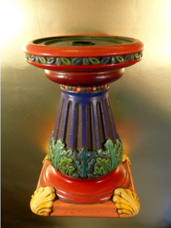 Candle stick Hand painted Baroque Rococo Ceramic Column