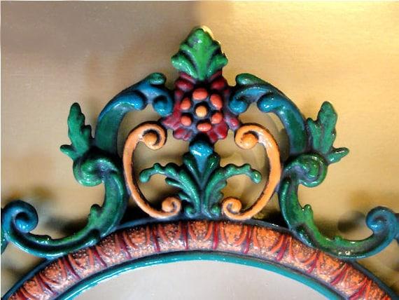 Ornate Mirror Hand Painted Baroque Rococo