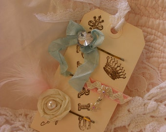 A Trio of Marie Antionette Inspired Decorative Bobby Pins with Rhinestones and Roses on a French Hang Tag