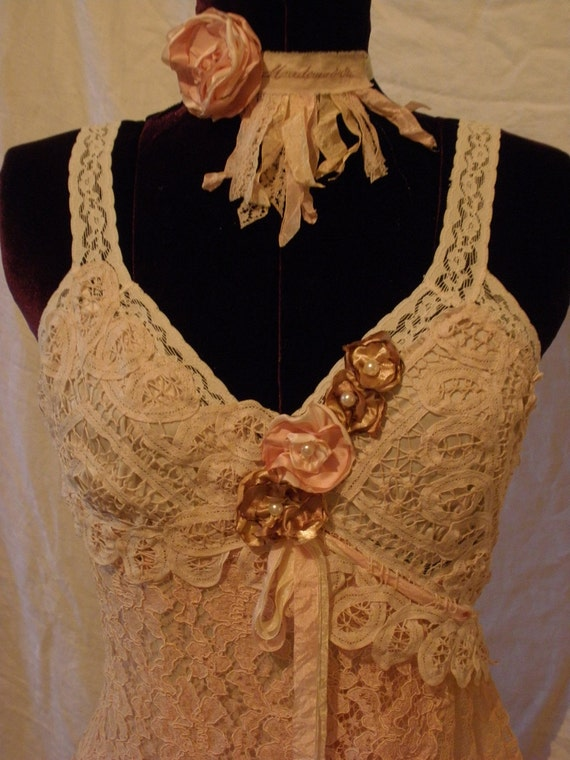 The Contessa Slip Dress with Vintage Lace and Handmade Roses