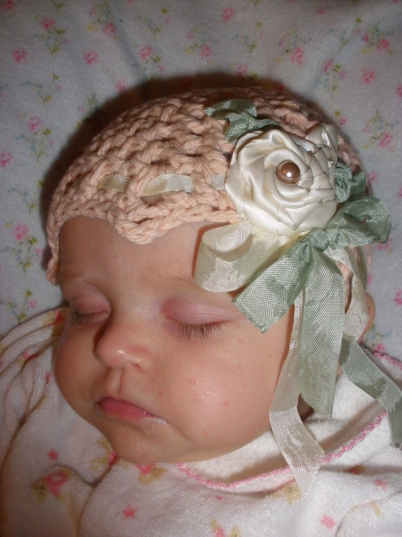 Lily Bum Bubble Gum Ballet Pink Crocheted Flapper Girl Hat with Ribbonwork and Rose Baby Couture
