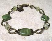 Jade Bracelet Natural Canadian Jade Green rutilated Quartz in Oxidized Brass