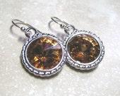 Topaz Earrings,  Rivoli Swarovski Crystal,  Silver Setting,  December Birthstone, Clearance Jewelry