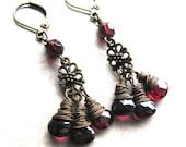 Garnet Dangle Earrings January Birthstone Burgandy Gemstone Wire Wrapped in Oxidized Brass