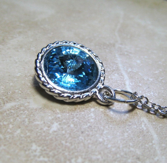 Aquamarine Necklace,  Swarovski Crystal Rivoli,  Silver Setting, March Birthstone, Handmade Jewelry, On Sale