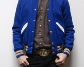 vintage 80s LETTERMAN blue with yellow stripes jacket made in U.S.A.