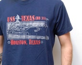 METALLIC MILITARY navy ship t-shirt made in U.S.A
