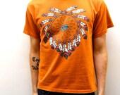 DREAMCATCHER rusty orange NATIVE AMERICAN t-shirt made in usa