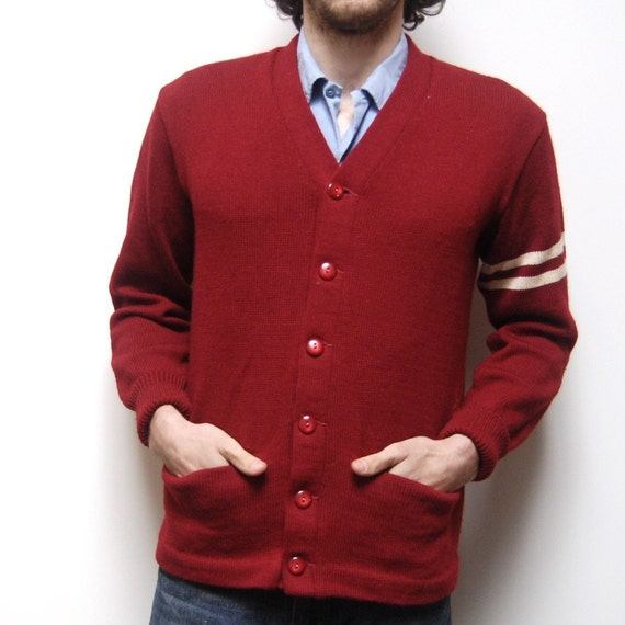 vintage 60s VARSITY red and white SLEEVE STRIPE pocket CARDIGAN made in USA