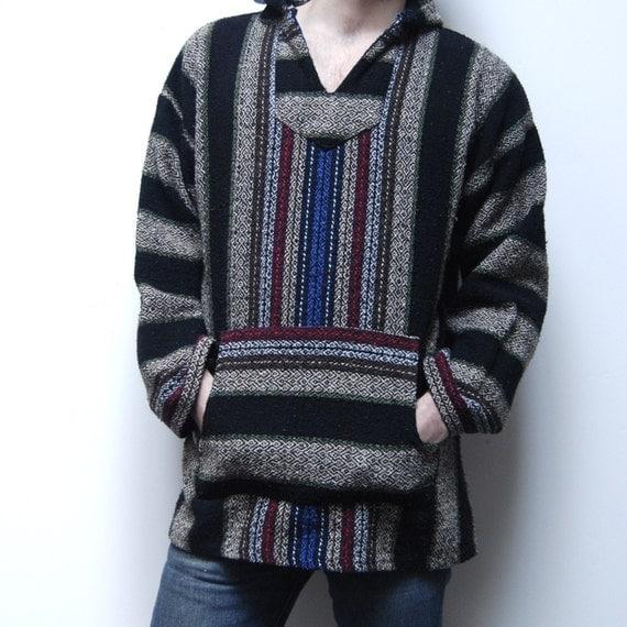 Vintage 80s Baja Pullover Mexican Woven Rug Hoodie Jacket