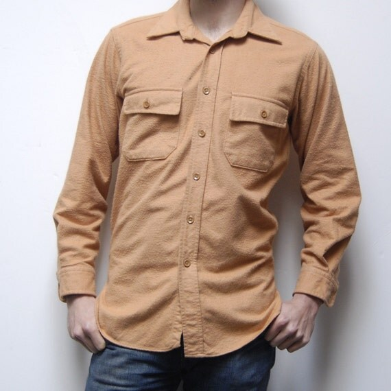 CHAMOIS camel tan long sleeve SOLID button up shirt made in USA
