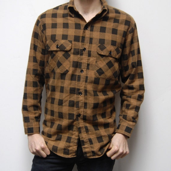 Buffalo plaid flannel brown and black button up shirt for Brown and black plaid shirt