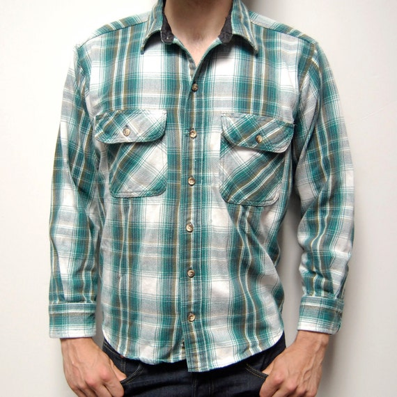 Plaid flannel green and white long sleeve button up shirt for Green and black plaid flannel shirt
