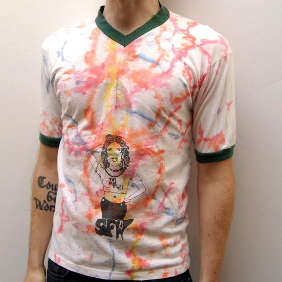 TIE DYE the real stuff v-neck RINGER t-shirt