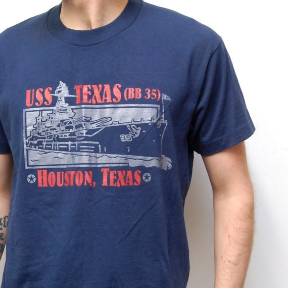 METALLIC MILITARY navy ship t-shirt made in U.S.A