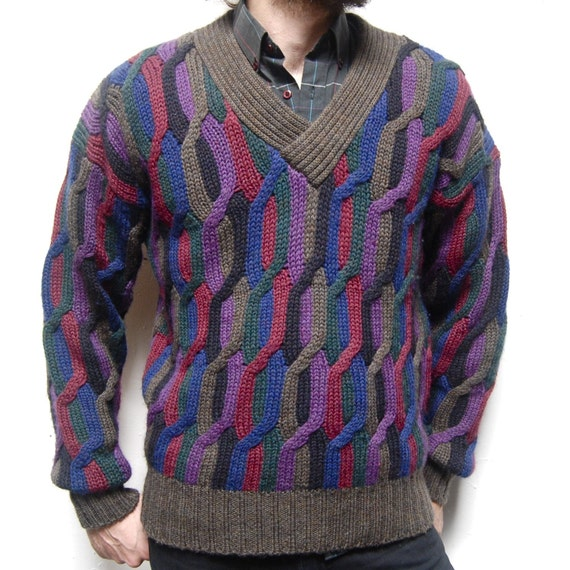 CABLE KNIT multicolor thick WOOL sweater