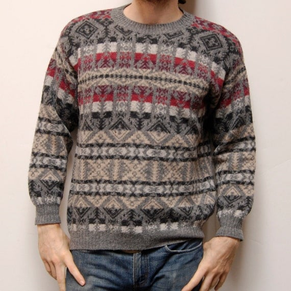 NATIVE AMERICAN thick knit wool sweater made in ITALY