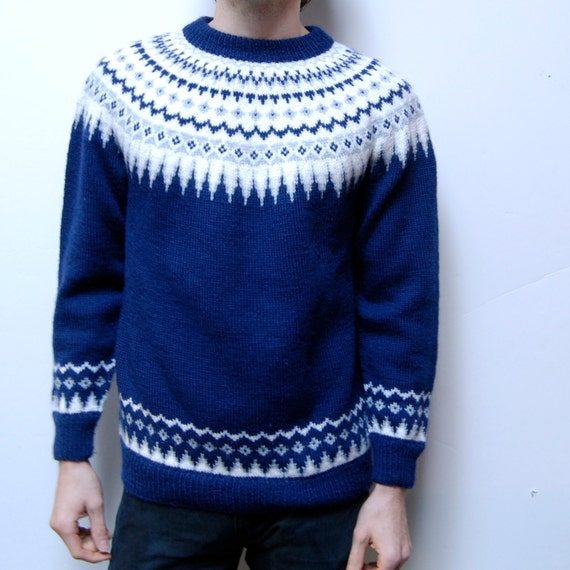 NORDIC folk pattern thick KNIT sweater made in NORWAY