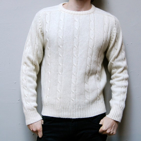 CABLE KNIT cream thick knit NORDIC sweater
