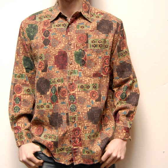 FRESH PRINCE southwestern abstract print COTTON button up shirt