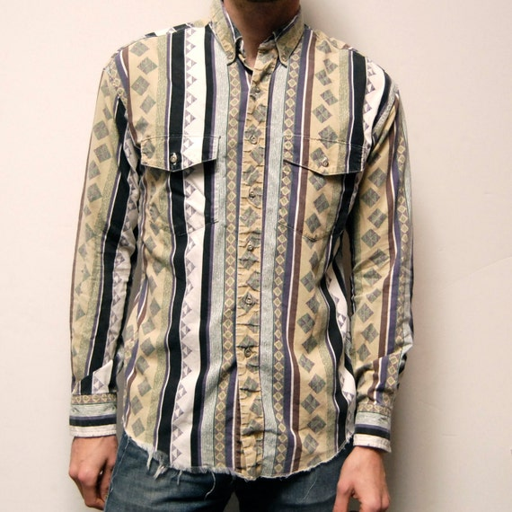 SOUTHWESTERN long sleeve NATIVE AMERICAN button up shirt
