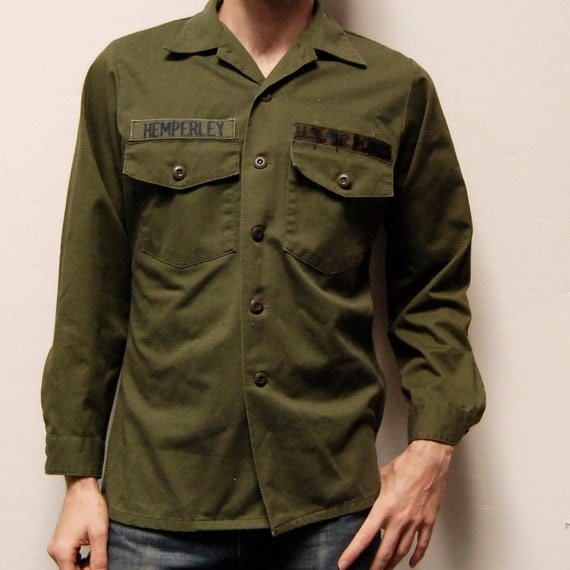 MILITARY Hemperley solid color ARMY GREEN button up shirt