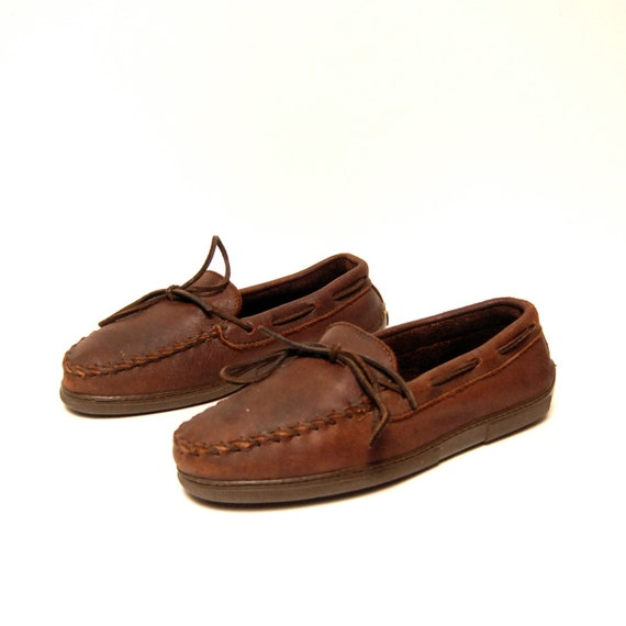 mens size 9 MOCCASINS dark brown 80s MINNETONKA leather loafers