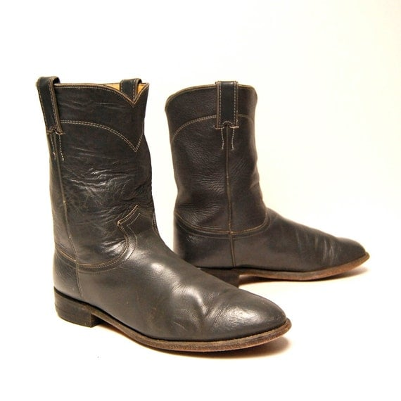 mens size 9.5 JUSTIN grey leather 70's ROPER western engineer boots