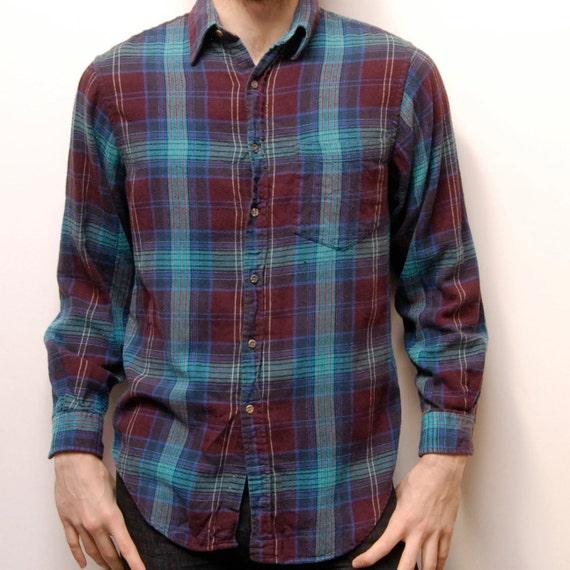 COTTON FLANNEL plaid long sleeve button up shirt