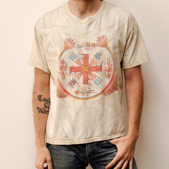 NATIVE AMERICAN art tie dye SOUTHWESTERN cotton t-shirt