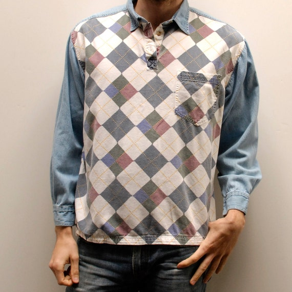 ARGYLE DENIM unique style COTTON long sleeve collared shirt