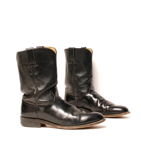 mens size 9 JUSTIN black leather 70's ROPER motorcycle boots