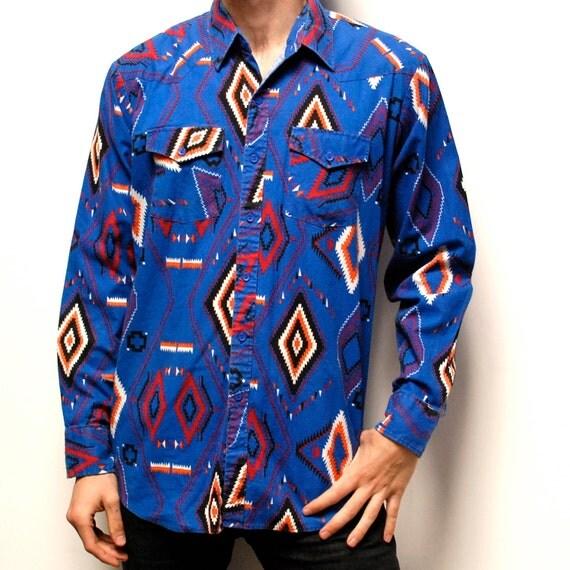 SOUTHWESTERN native american VIBRANT cotton button up shirt
