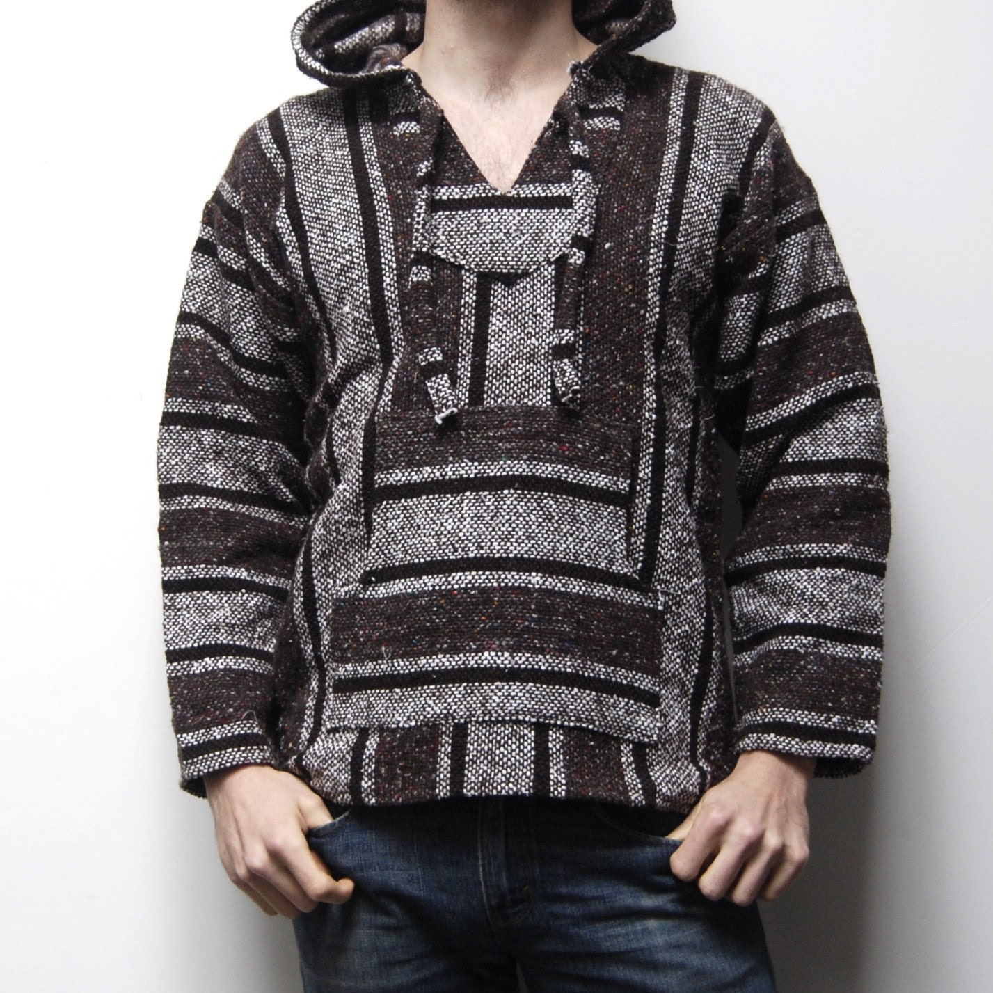 Baja Pullover Striped Mexican Woven Rug Surfer Hoodie Unisex