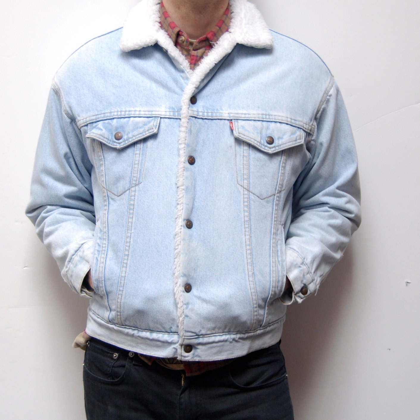 levis sherpa lined light blue denim jacket
