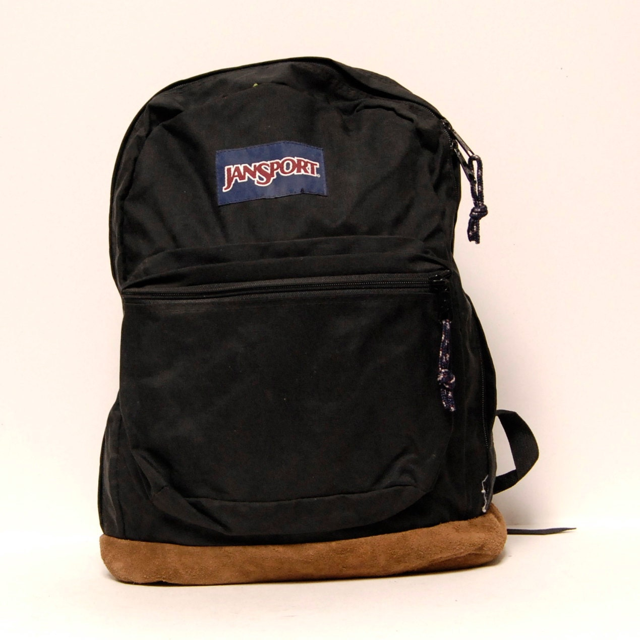 LEATHER JANSPORT Black Canvas Classic BACKPACK By CairoVintage