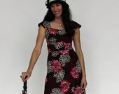 Spark Dress, Black, Cream and Magenta Funky Floral Print Travel Dress