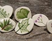 Pressed Plant Pottery Pins, Michigan Flora