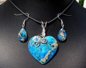 Blue Sea Sediment Jasper Heart Shaped Pendant and Earring Set, S.S. wire wrap