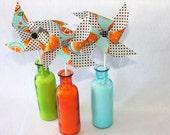 Fabric Pinwheels - Citrus in Orange, Aqua, Black - Set of  3