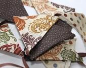 Mini Fabric Flag Bunting - Harvest Brown