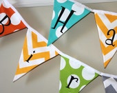 Happy Birthday Large Fabric Buntings - Multi Giant Chevron and Dot