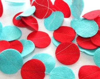 Felt Circle Garland - Red and Aqua