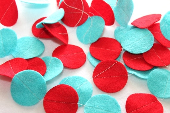 Felt Circle Garland - Red and Aqua Party - Circle Strand