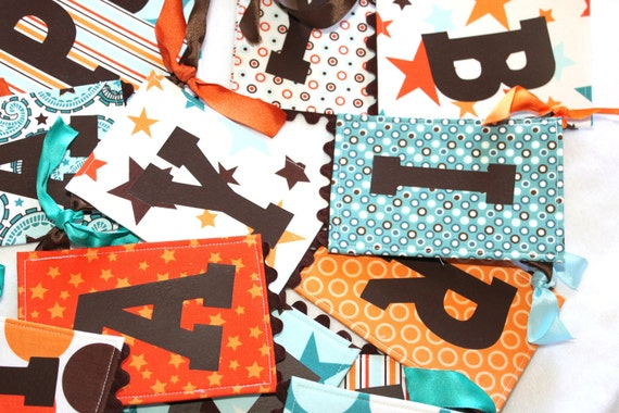 Fabric Birthday Banner - All Star Boy in Blue and Orange